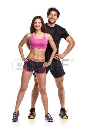 Athletic coppia uomo e la donna dopo l esercizio di fitness su sfondo bianco Archivio Fotografico