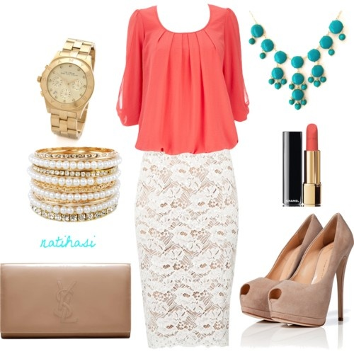 lace skirt outfit, I love the colour of the blouse, it would be simple to make.