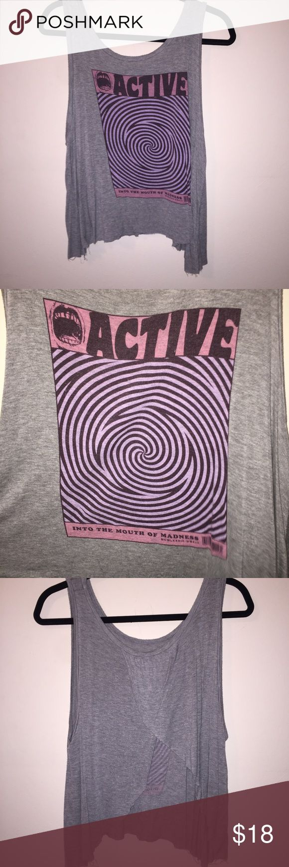 Active Ride Shop graphic tank Grey tank with an open draped back. Great condition! Active Ride Shop Tops Tank Tops