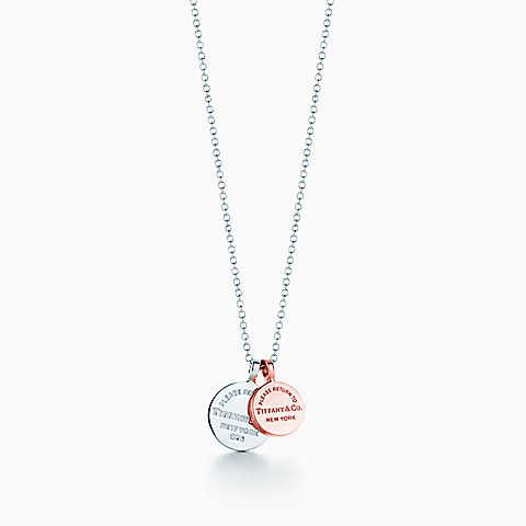 Return to Tiffany® circle duo pendant in silver and RUBEDO® metal.