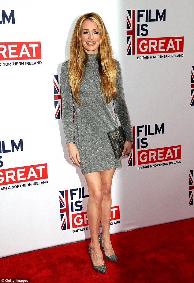 Brits abroad:Cat Deeley shimmers in a silver mini-dress as she represents the UK at star-studded party honoring British Oscar nominees