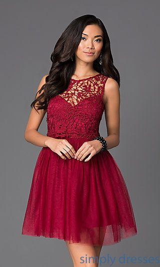 Dresses, Formal, Prom Dresses, Evening Wear: Lace Fit and Flare Short Homecoming Dress with Bow