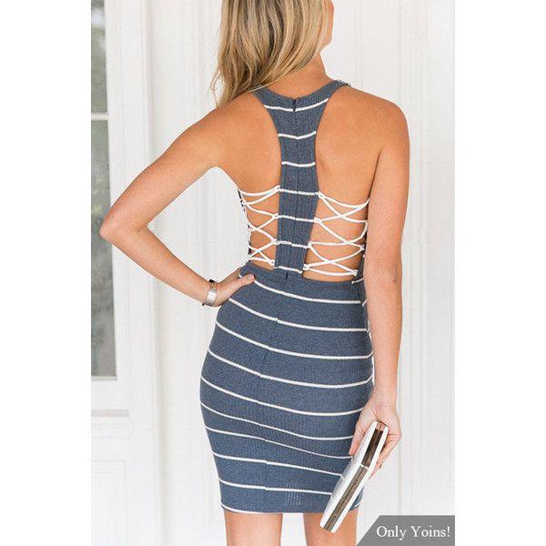 Yoins Strip Design Invisible Center Back Zipper Stretchy Lattice... ($17) ❤ liked on Polyvore featuring dresses, black, short mini dress, short dresses, day party dresses, going out dresses and night out dresses