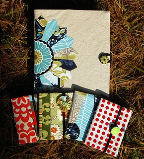 DIY fabric composition book covers. These look cute and fun!