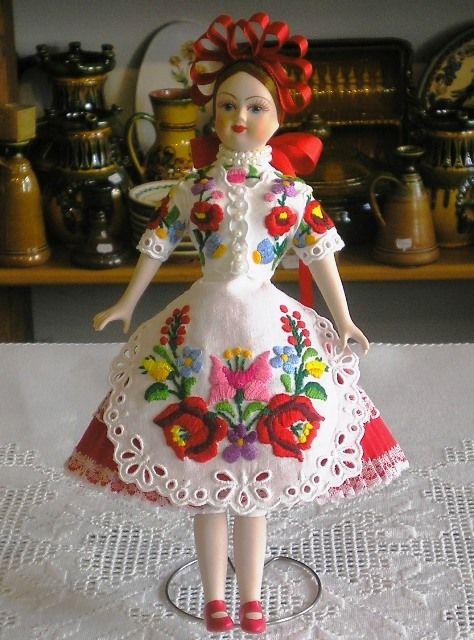 Handmade porcelain doll, dressed in Kalocsa folkwear.