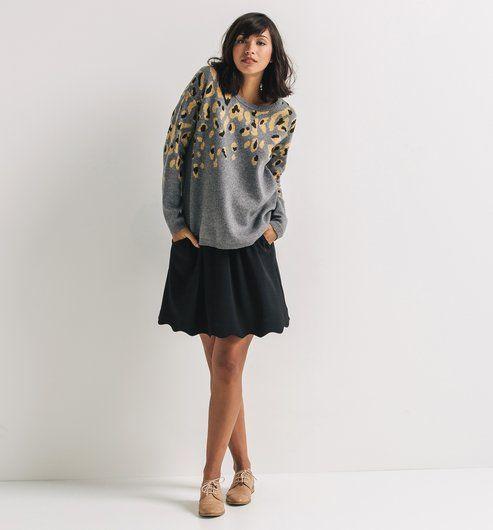 Maglione stampa leopardo stampato grigio melange - Promod