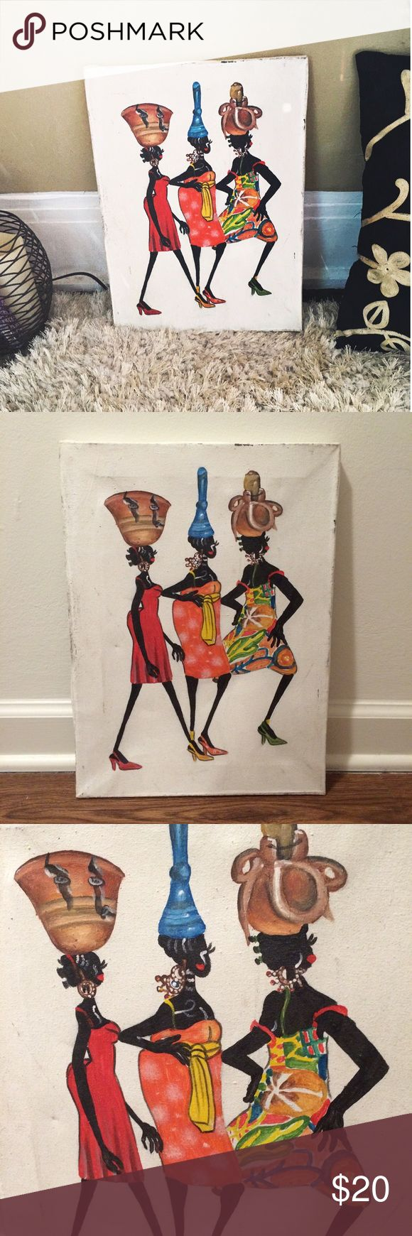 "Beautiful African Canvas Painting Beautiful authentic canvas painting! African culture inspired! Definition of gorgeous, sassy, and strong! Measures: 11.5""x16"". There are some signs of distressed wear, but the painting was purchased like that! Gives it an antique theme. Ask questions! (Will be packaged very well to prevent damage) *first pic is filtered to brighten Vintage Other"