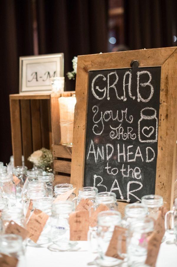 brilliant wedding bar ideas with mason jars and chalkboard signs