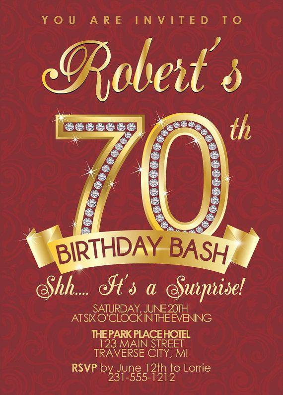 Milestone Birthday Invitation Surprise 70th Invite Gold In 2018 Party Invitations Pinterest