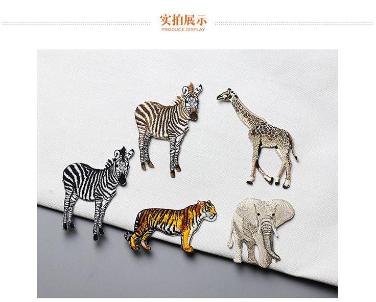 Aliexpress.com: Comprar 1 unids Jirafa cebra elefante tigre bordado de gama alta de ropa exquisita decorativo applique parches pegamento trasero de applique patch fiable proveedores en Mary's Brown Store