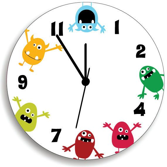 Monster WALL CLOCK for Kids Bedroom Baby Nursery, Cute and Fun Colorful Monsters, Nursery Wall Art on Etsy, $44.00
