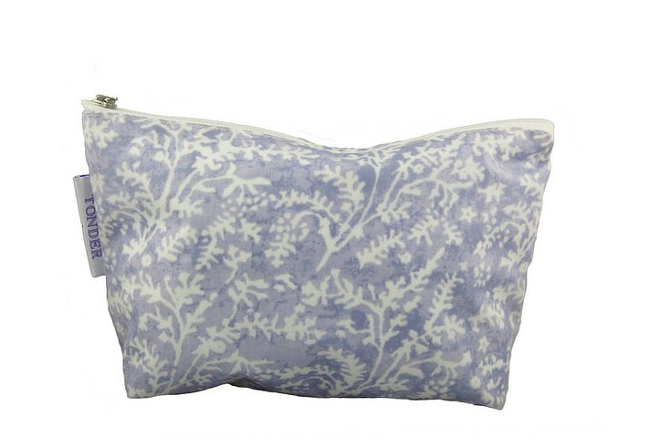 £10 Cotton Lavender Oilcloth Wash & Make-Up Bags Pretty Sprig Design Wash & Make Up Bag Made From A Soft Matt Wipe Clean Oilcloth Available In Blue & Stone.