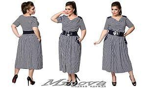 46e5c7e306b Летнее женское платье в полоску трикотаж-вискоза размер  54- 64 ...