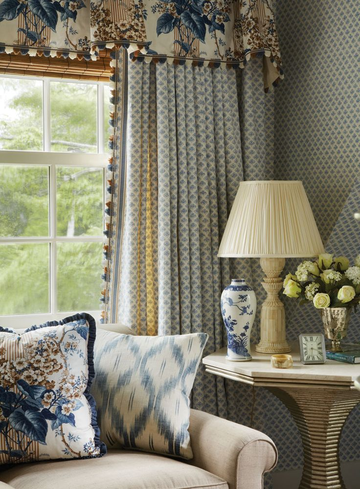 traditional blue and neutral living room.  custom draperies DesignNashville shipping to all locations