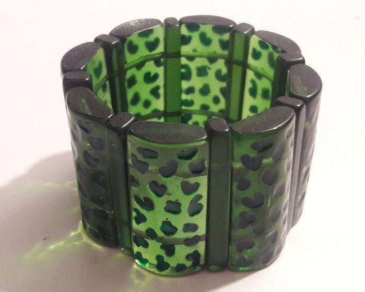 Vintage 1940's Wide Green BAKELITE Panel stretch elastic BRACELET #VintageBracelet