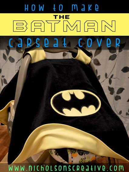 Reversible BATMAN Carseat Canopy Cover Tutorial
