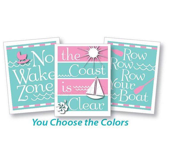 No Wake Zone, nautical decor, nautical nursery, pink nautical, sail boat, baby girl nautical, nursery wall art, kids playroom decor