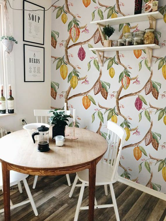 Cocoa Removable Wallpaper Traditional White Print Wall Mural
