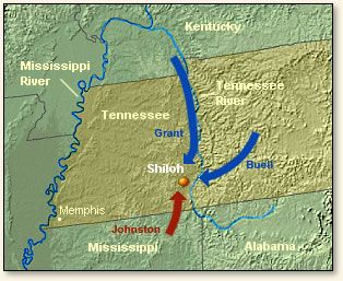 The Battle of Shiloh, 1862  Grant was waiting for reinforcements to arrive when he was surprise attacked by Johnston's army. The mass of confederates overpowered the camp and drove the union out.