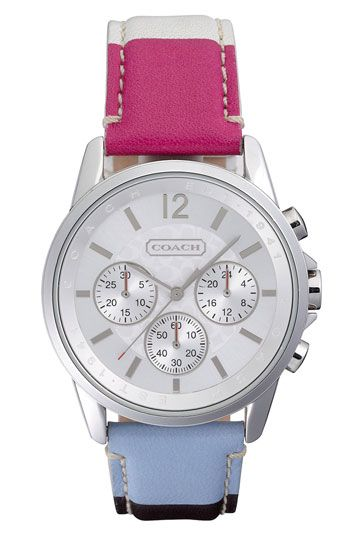 COACH 'Classic Signature' Stripe Leather Strap Watch available at Nordstrom