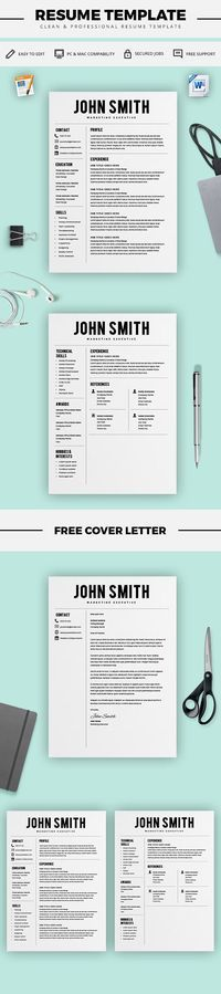 Resume Template - Resume Builder - CV Template + Cover Letter - MS Word on Mac / PC - Sample - Best Resume Templates - Instant Download