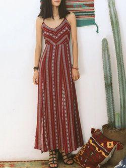 Red Swing Spaghetti Printed Maxi Dress