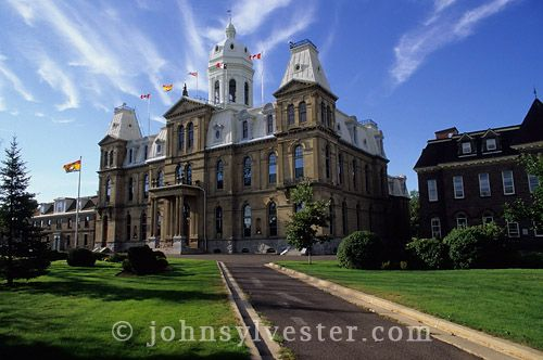 The New Brunswick Legislature;Fredericton;New Brunswick;Canada;government;provincial;architecture;sandstone;building;Second Empire Revival;built 1882;historic;city;scenic