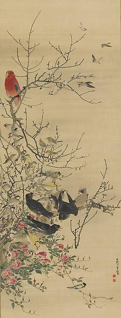 "Nagasawa Rosetsu | The Parrot ""King"" and Bird ""Courtiers"" on Plum and Rose Branches | Japan | Edo period (1615–1868) by Nagasawa Rosetsu (Japanese, 1754–1799)"