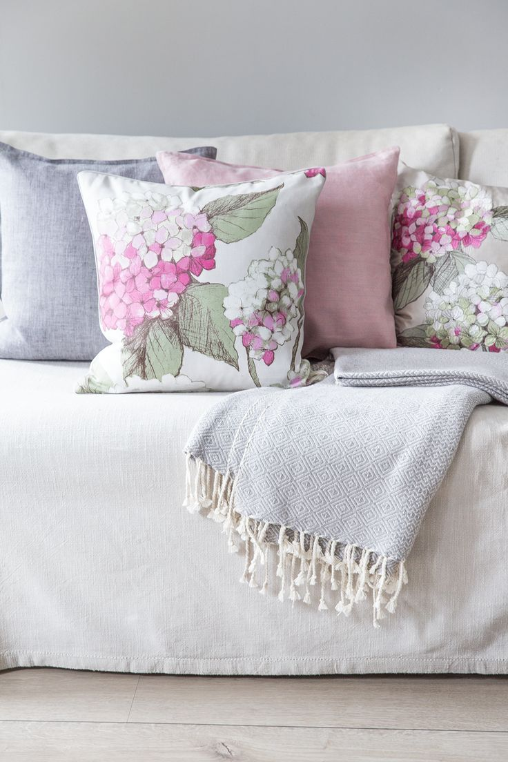 Hortensia Cushion Cover | Pentik | The beloved Hortensia cushion cover is available in different colours. Designer Minna Niskakangas drew the original pattern on plywood with a pencil and pastels.
