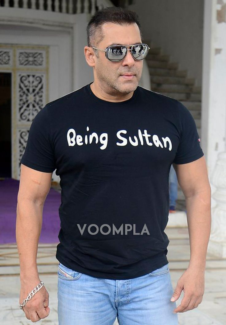 Salman Khan looks rocking in shiny sunglasses & a black Being Sultan t-shirt. via Voompla.com