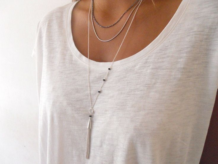 Sterling Silver Tassel Necklace. Delicate Long by annikabella, $45.00