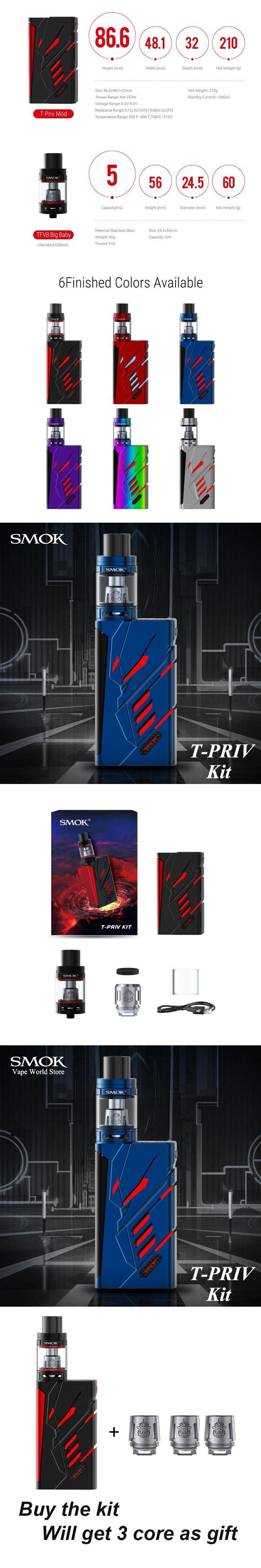 SMOK T-Priv kit Electronic Cigarette T Priv Vape Vaporizer E Cigarette Box Mod VS RX200S iKonn 220 Buy Kit Get 3 Core Free S075