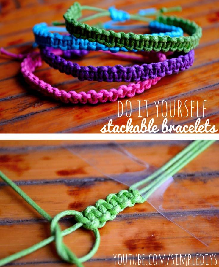 Learn how to make stackable square knot/cobra stitch bracelets. Pin now, watch later! Super simple.