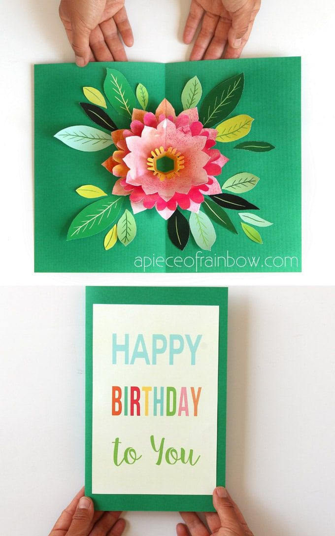 Make A Birthday Card With Pop Up Watercolor Flower Free Designs Pop Up Flower Cards Diy Happy Mother S Day Simple Birthday Cards