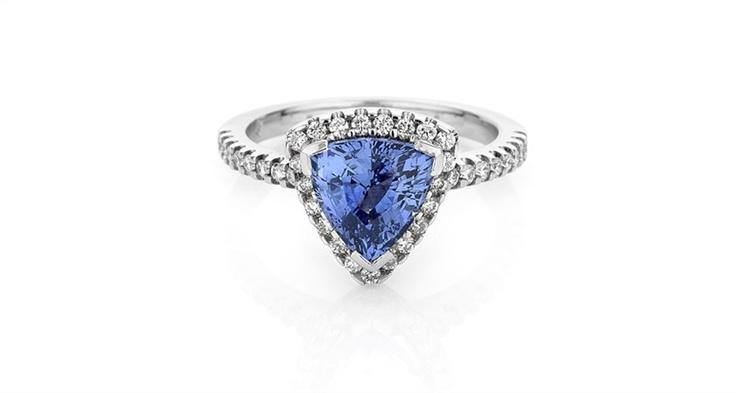 Trilliant Ceylon Sapphire & Diamond Ring Michael Wilson Diamond Jewellers-Precious Coloured Stones