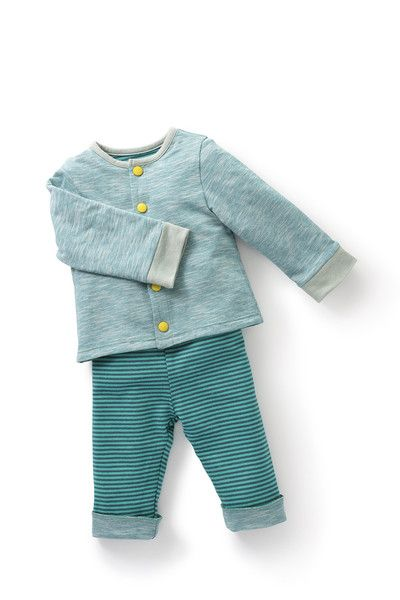 Sapoti - reversible cardigan: Reversible turquoise jersey cardigan with two widths of stripes for an optical effect. Popper fastening. Sizes: 3 to 23 months. - Moulin Roty Les Pachats