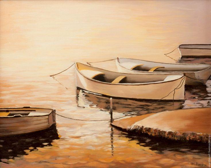 Купить Принт. Пейзаж с лодками - комбинированный, постер, принт, авторский…
