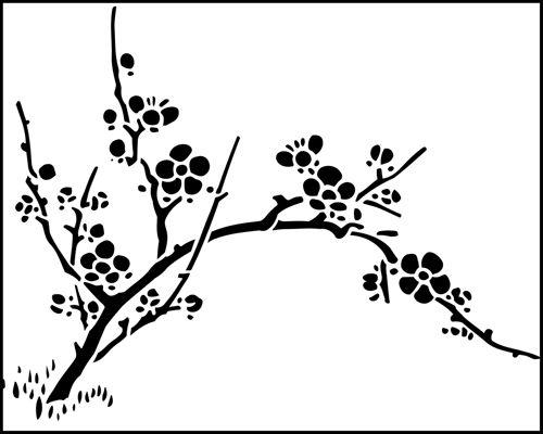 Cherry Blossom Flower Stencil: Cherry Blossom Stencil From The Stencil Library JAPAN