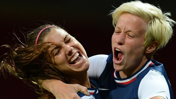 Alex Morgan scores on a header in the 122nd minute as the U.S. defeats Canada 4-3 in their women's soccer semifinal. The United States advances to play Japan in the final. (Photo: Andrew Yates / AFP - Getty Images) #NBCOlympics