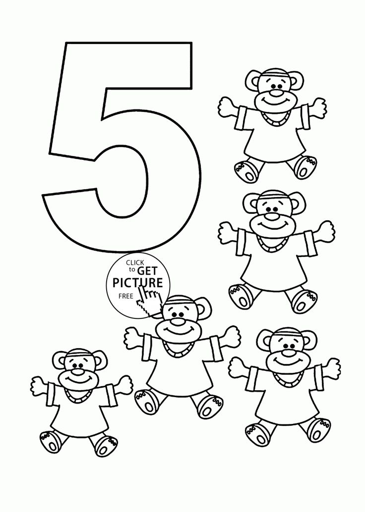 Number 5 coloring pages for kids, counting sheets ... | number coloring pages for toddlers