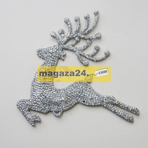 Bulb Yılbaşı Çam Ağacı Süsü Geyik Gümüş Simli, Magaza24