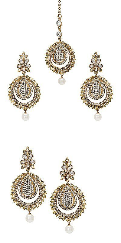 Hair and Head Jewelry 110620: Bindhani Wedding Indian Pakistani Style Head Jewelry Big And Long Maang Tikka Set BUY IT NOW ONLY: $30.03