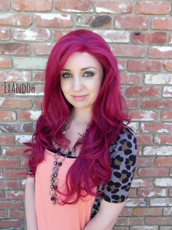 ON SALE // Dark Auburn Red / Long Wavy Lace Front Wig by ExandOh