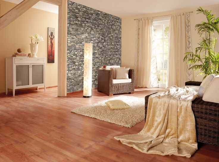 natur beige wohnzimmer steintapete laminat b den. Black Bedroom Furniture Sets. Home Design Ideas