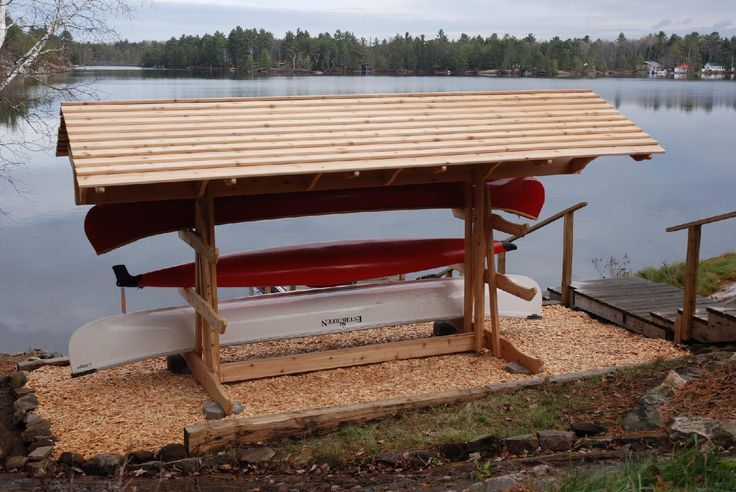 41 best images about boat rack outdoor ideas on for Canoe storage shed