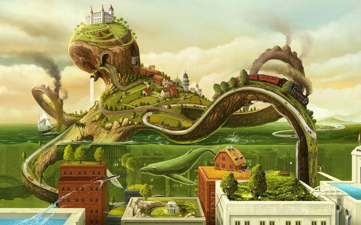 Octopus City (2880x1800) : wallpaper
