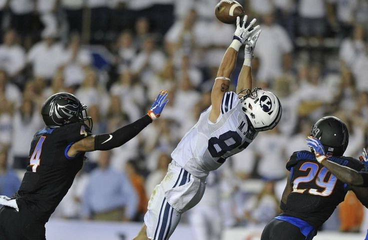 Some of my favorite BYU football moments:    #20 Boise State 9/12/15 Lavell Edwards Stadium Provo, Utah With less than one minute to go in the game, QB Tanner Mangum connects with Mitchell Juergens on a long bomb TD on 4th down and 7 yards to take the lead 24-21.  On ensuing kickoff, and first play from scrimmage with 45 second remaining, Kai Nacua intercepts a Bronco pass for the second TD and seals a 35-24 victory.