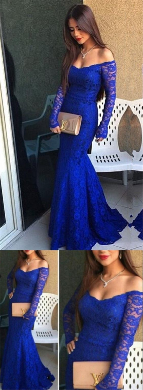 elegant royal blue off the shoulder mermaid prom dress with long sleeves, bodycon mermaid royal blue lace party dress with sweep train