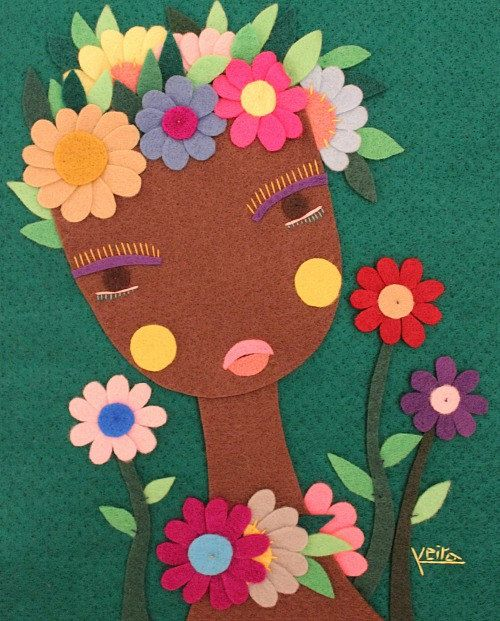 Handmade Felt African Black Girl Woman Portrait Flowers by Gaoui