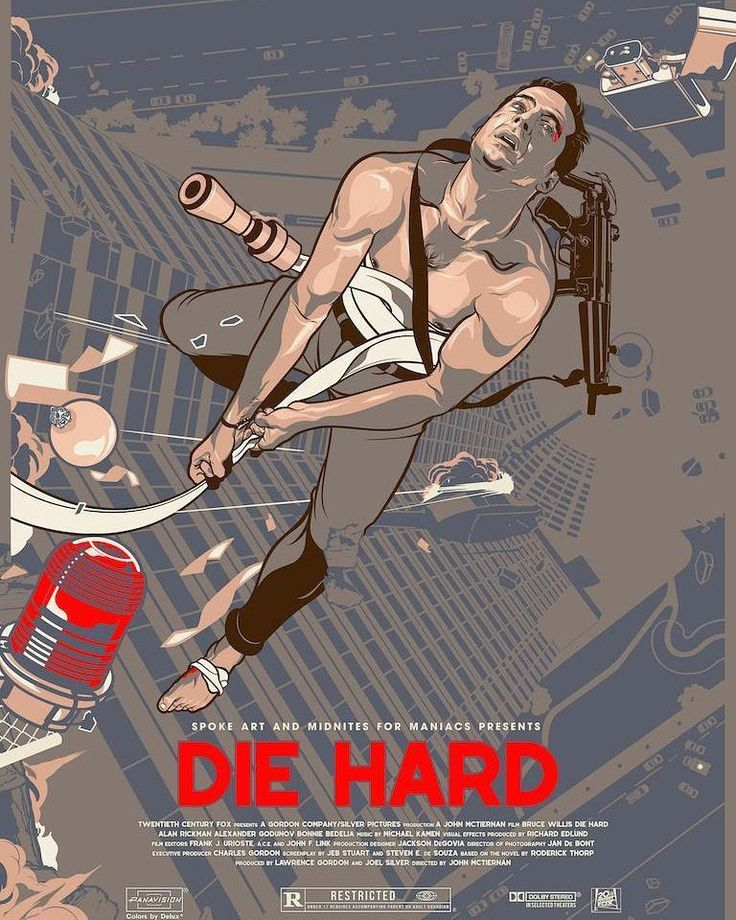 #DieHard, released in cinemas #OnThisDay in 1988 Art by #VincentAseo (@vincentaseo) #CoolArt #Art #JohnMcLaine #BruceWillis #JohnMcTiernan #yippikiyay
